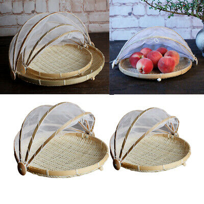 2x Bamboo Food Holder Basket with Cover Prevent from Dust Storage Baskets
