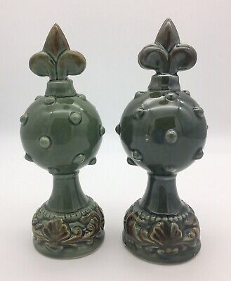 Two Green Fleur de Lis Tabletop Finials Decorative Vintage Inspired 7""
