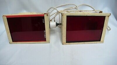 2 x Vintage Ilford Photography Dark Room Developing Red Safe Lights Wall Mounted