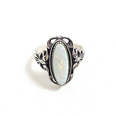 Vintage 925 Sterling Silver Oval Opal Ornate Ring Size 9.5 Jewelry #M130