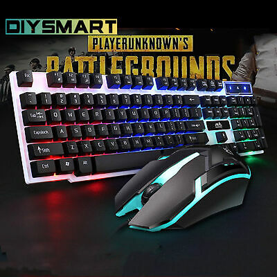 Rainbow Gaming Keyboard and Mouse Set Backlight USB For PC Laptop AU