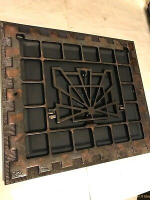 Antique Arts Craft Deco Copper Flash Japanned Cast Iron Wall Heat Grate Register