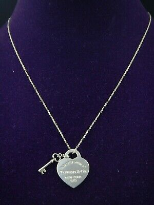 Please Return to Tiffany & Co.Sterling Silver Heart and Key Necklace Length 18''