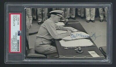 Chester Nimitz signed 3-1/2x 5-1/2 photo PSA Authenticated WWII US NAvy Admiral