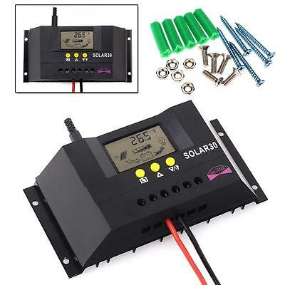 LCD 30A 12V 24V Auto Intelligent Solar Charge Controller Regulator PWM+Screws BT