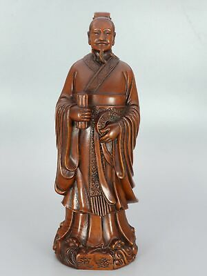 Chinese Exquisite Hand-carved Ancient people 'Fan Li' Carving Boxwood statue