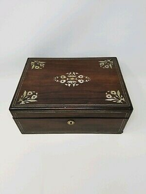 Antique Victorian Campaign Writing Box ~ Lap Desk w/ Mother of Pearl Inlay