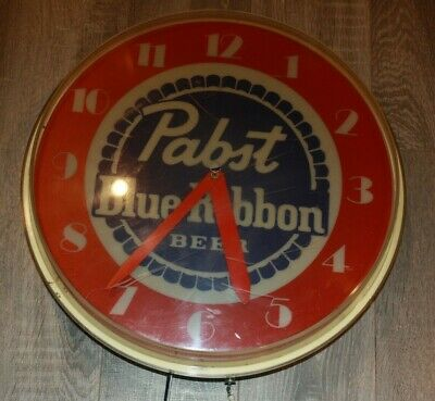 vintage pabst blue ribbon lighted wall clock