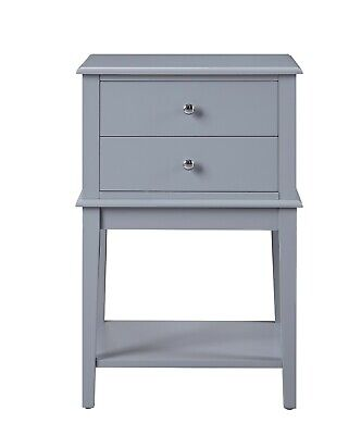 New 2 Drawer Side Table - Grey