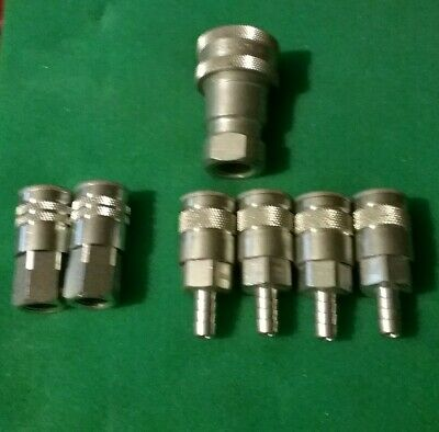 Dixon Stainless Steel Quick Connect Air Fitting Barb & Thread Lot of 7