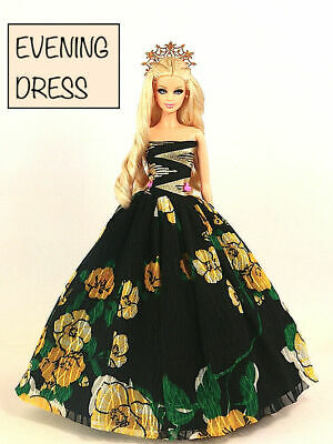 Brand new barbie doll clothes princess wedding black floral evening dress
