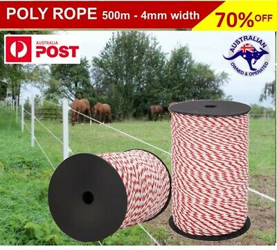 Out Foxed - 500m 4mm Stainless Steel Rope Polywire Poly Tape Electric Fence