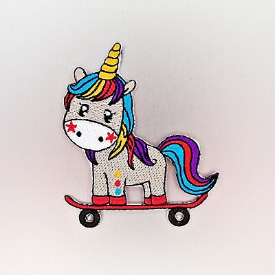 Unicorn Skateboarding Patch — Iron On Badge Embroidered Motif — Cool Fun Colours