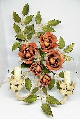 French 1930's Hand painted Toleware wall sconce in the form of Roses