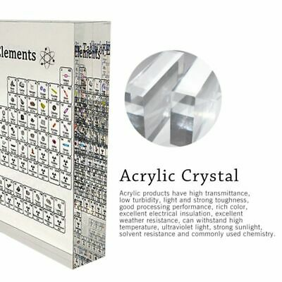 Periodic Table Display W/ Elements Acrylic Crystal Periodic Table of Element- UK