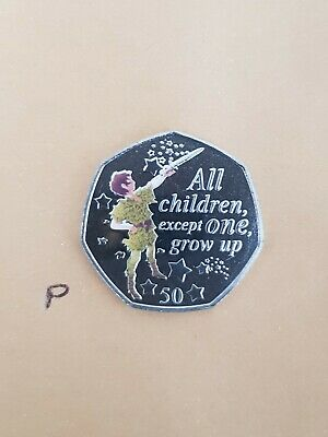 Peter Pan 50 p coin - Peter Pan NEW Uncir SILVER + decal