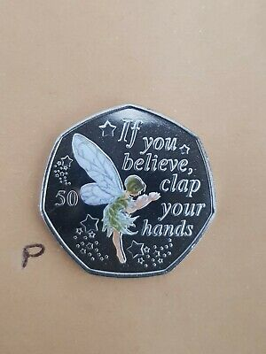 Peter Pan 50p Coin - Tinkerbell 2019 NEW Uncir SILVER + decal