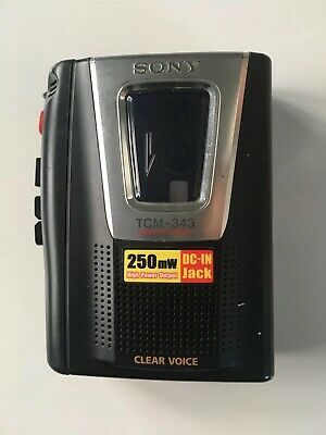 Sony TCM-343 Portable Tape Cassette Recorder Player with Built in Mic & Speaker