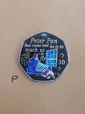 Peter Pan 50 p coin 2019 - Wendy & Nanna NEW Uncir SILVER + decal