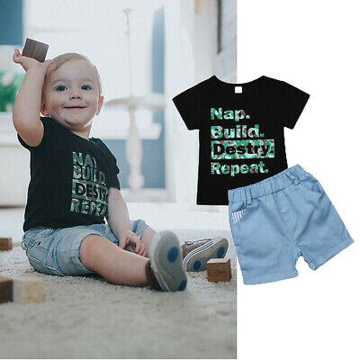 Toddler Infant Kid Baby Boy Clothes Boys Outfits Sets Short T-Shirt + Pants Tops