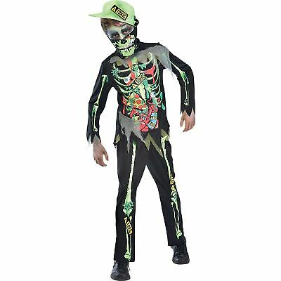Child Zombie Costume Skeleton Toxic Boys Halloween Horror Fancy Dress Outfit