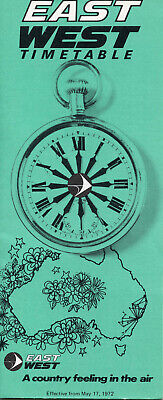 East-West Airlines Australia Timetable 17 May 1972