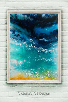 Oil Painting Original on canvas Epoxy resin Abstract Seascape Modern Art