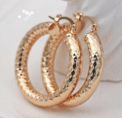 18K Gold Filled Earrings Big Round Carving Rhombus Luxury Fashion Hoop Party L8