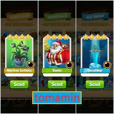 Coin Master Card Bundle *MARTIAN LETTUCE and SANTA and EXCALIBUR*(Fast Delivery)
