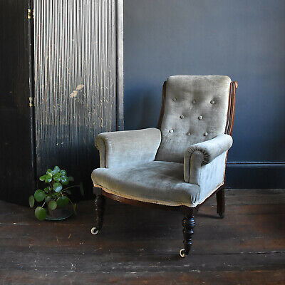 19th Century Velvet and Mahogany Armchair - Antique Victorian Button Back Chair