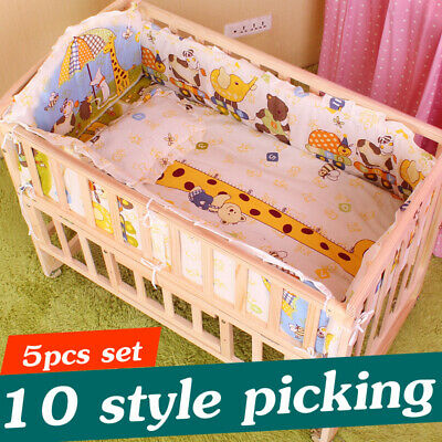 Newborn Bedding Set 5Pcs Baby Crib Cot Sets Nursery Boy Girl Bumper Pillow Mat