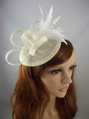 Ivory Cream Sinamay Fascinator with Feather Flower - Ascot Wedding Races