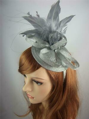 Silver Grey Sinamay Fascinator with Feather Flower - Ascot Wedding Races