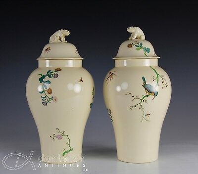 Pair Antique 19th Century English Creamware Covered Vases in Japanese Style