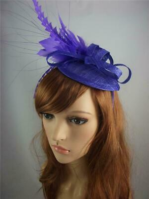 Purple Sinamay Fascinator with Feather Flower - Ascot Wedding Races