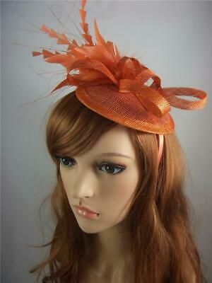 Rusty Orange Sinamay Fascinator with Feather Flower - Ascot Wedding Races