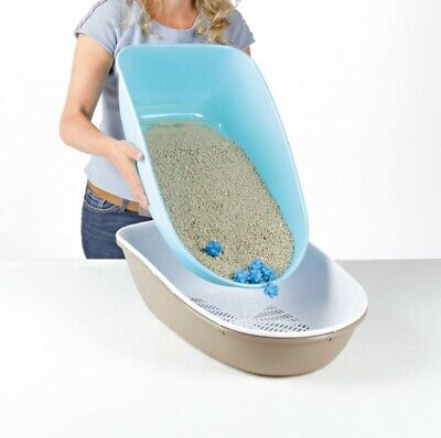 XL Large Cat Litter Tray With Sieve Easy Clean High Sides Deep Toilet Loo Kitten