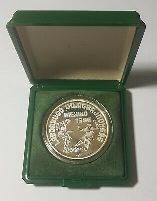 1986 Hungary Silver Proof 500 Forint, Mexico Soccer World Cup, Original Case Unc