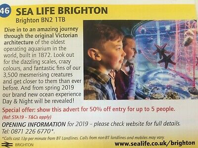 Sea Life Brighton Voucher! 50% off entry for up to 5 people