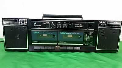 Vintage Crown P-805 Boombox Dual Cassette Stereo Radio - Japan