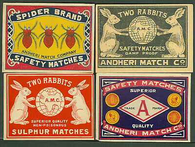Vintage India 8 Match Box Labels From Andheri Match Co. Sample Book 1-356/376