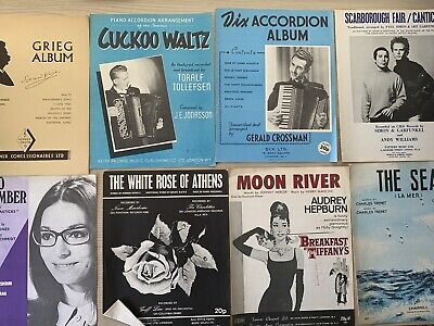 Vintage Sheet Music x 8 used for piano accordian