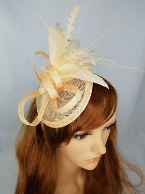 Nude Pink Sinamay Fascinator with Feather Flower - Ascot Wedding Races