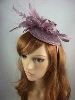 Plum Purple Sinamay Fascinator with Feather Flower - Ascot Wedding Races