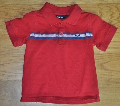 CHEROKEE Boys Red Blue Polo Shirt Collared Short Sleeve Top T-Shirt 2T 2 Cotton