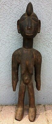 "25.5"" African Hard Wood Carving Nude Woman Tribal Primitive Africa Statue Figure"