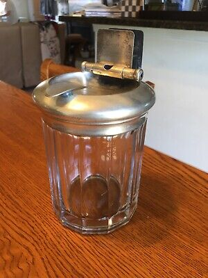 Antique Heavy Glass Paneled Tobacco Cigar Jar Humidor w/Unique Silver Plated Lid