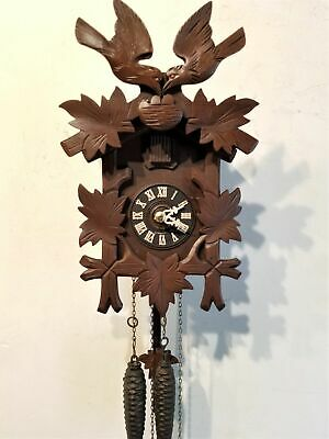 Vintage Hagos Hrastnigs Cuckoo Clock 30 Hour Birds Black Forest Germany Working