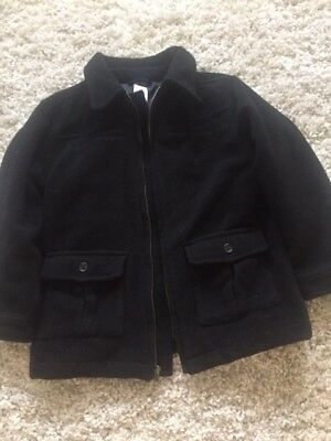 Gymboree Black Winter Thick Coat Zip Up Wool blend lined Jacket Boys M(7-8)