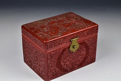 Chinese Cinnabar Lacquer Box with Nicely Carved Character Scene and Flowers